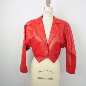 Vintage 80s Red Leather Cropped Jacket